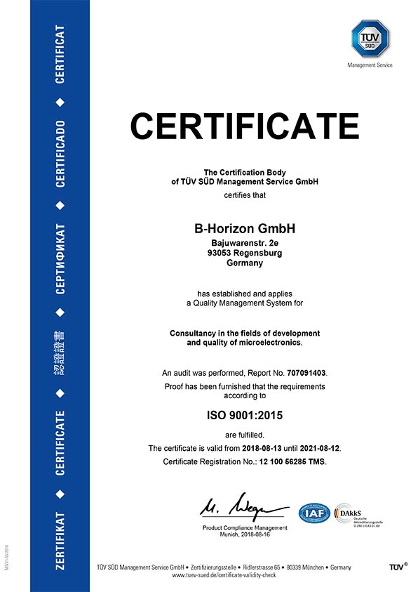 """Certificate for the initial implementation of a quality management system regarding the scope of """"Consulting in development and quality analyses of microelectronics"""", issued by TÜV SÜD Management Service GmbH. The following audit verified the realization of the requirements according to DIN EN ISO 9001:2015."""