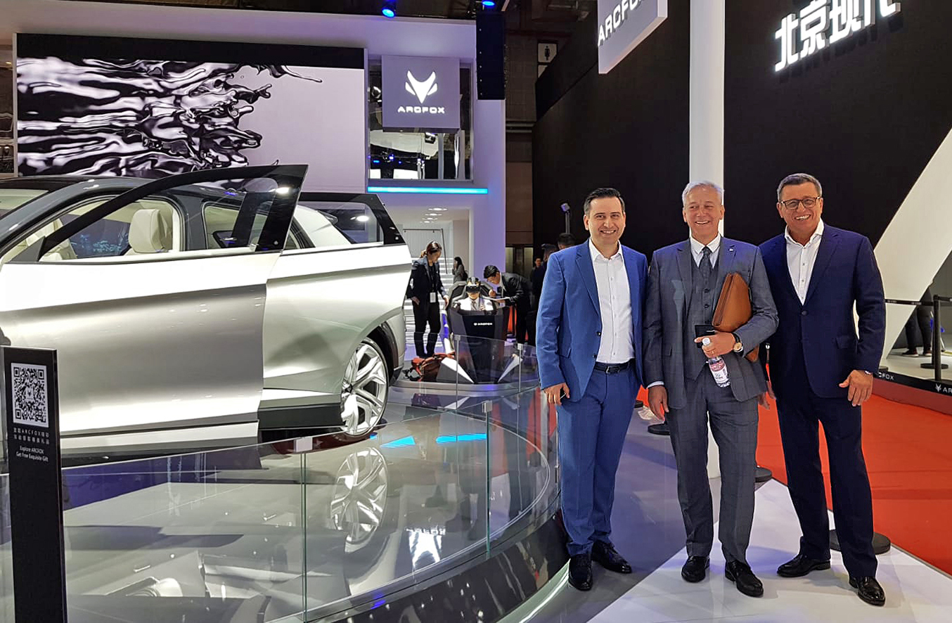 "Group photo at the fair ""Auto Shanghai"", one of the most important automotive exhibitions of the People's Republic of China. Mohammad Kabany (CEO B-Horizon), Franco Bellillo (Deputy General Manager BJEV) and Gerhard Heinemann (Vice President Driving Dynamics Asia BMW) in one of the exhibition halls of the Shanghai New International Expo Centre in Shanghai."