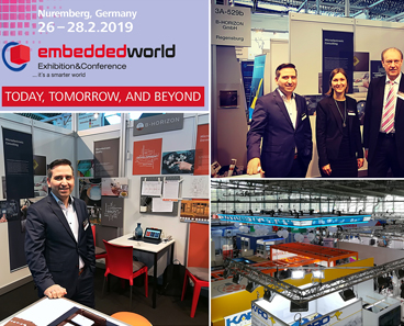 Photo collage of B-Horizon's team and their booth at the Embedded World in Nürnberg, the international leading fair for embedded systems. This group photo shows founder and CEO Mohammad Kabany, Helena Krämer (Executive Management Assistant), Bernhard Pohl (Head of Quality Management) and Josef Schmid (Engineer at iSyst Intelligente Systeme GmbH) in front of the booth.