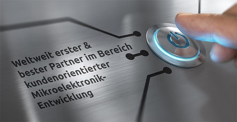 B-Horizon Microelectronics' Vision (hier auf einem Elektronik-Board aufgedruckt) ist, weltweit erster und bester Partner im Bereich kundenorientierter Mikroelektronik-Entwicklung zu werden. Die Gründung, sinnbildlich als Drücken der Power-Taste, hat den Start von B-Horizons Wachstum in der Mikroelektronik-Entwicklung für Automotive-, Industrie-, Consumer- und IoT-Anwendungen eingeleitet.